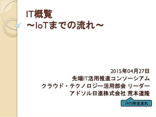 IT概覧 ~IoTまでの流れ~ 2015年04月27日 先端IT活用推進コンソーシアム クラウド・テクノロジー活用部会 リーダー アドソル日進株式会社 荒本道隆 1970年生まれ
