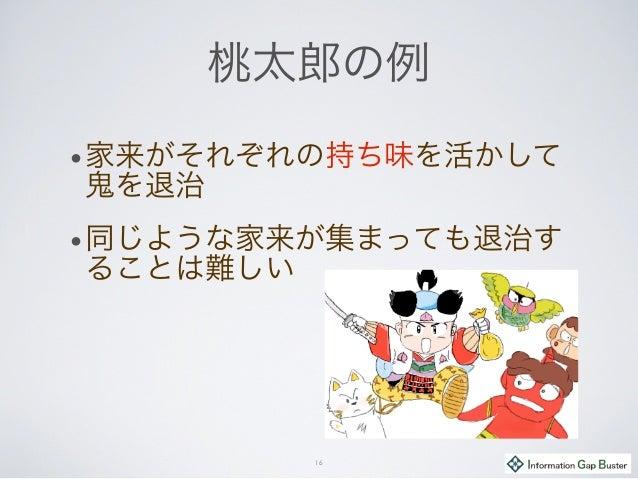 桃太郎の例 •家来がそれぞれの持ち味を活かして 鬼を退治 •同じような家来が集まっても退治す ることは難しい 16