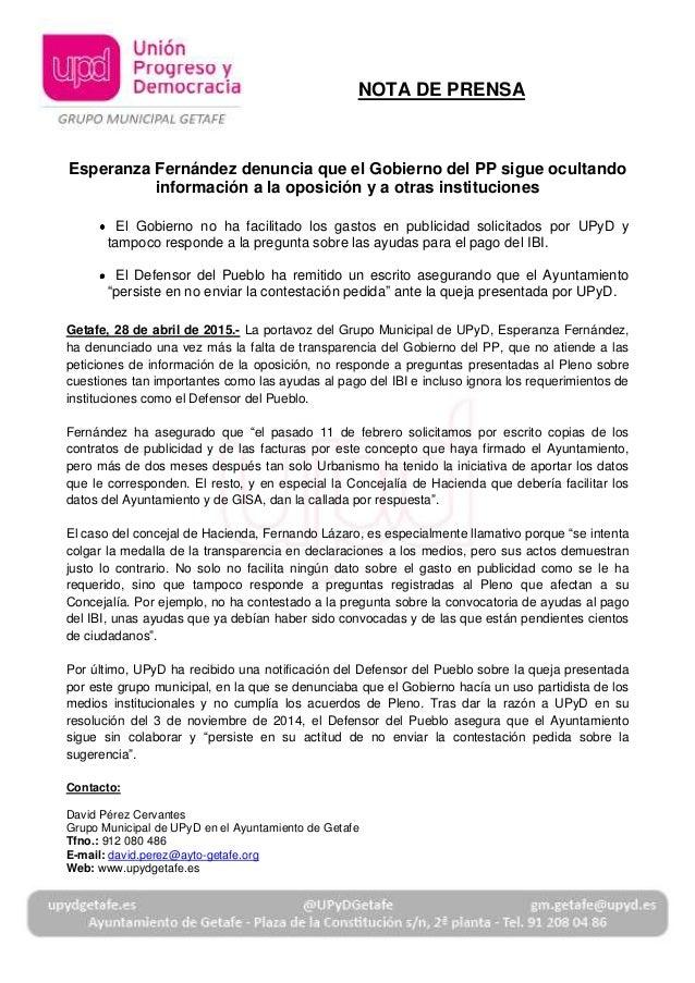 Esperanza Fernández denuncia que el Gobierno del PP sigue ocultando información a la oposición y a otras instituciones El ...