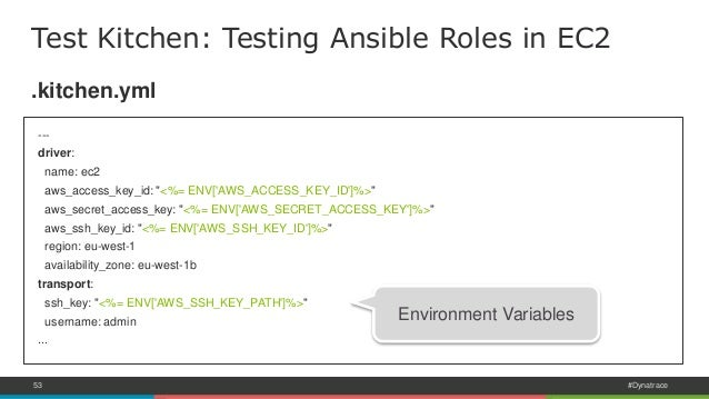 Test driven infrastructure with ansible test kitchen for Kitchen set environment variables