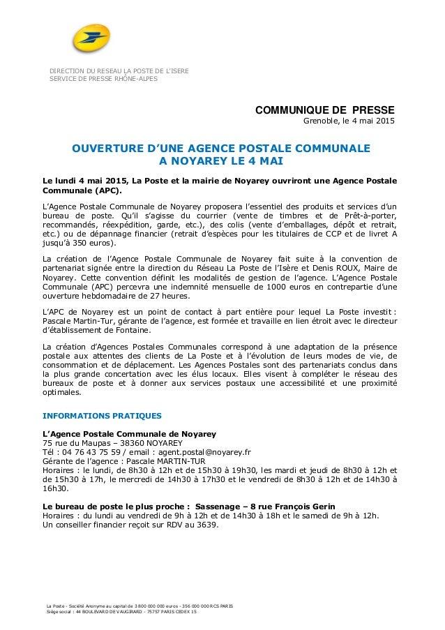 DIRECTION DU RESEAU LA POSTE DE L'ISERE SERVICE DE PRESSE RHÔNE-ALPES La Poste - Société Anonyme au capital de 3 800 000 0...