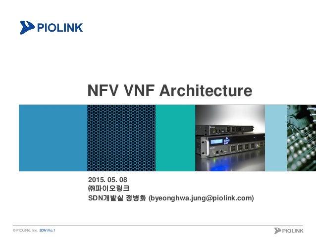 © PIOLINK, Inc. SDN No.1 NFV VNF Architecture 2015. 05. 08 ㈜파이오링크 SDN개발실 정병화 (byeonghwa.jung@piolink.com)
