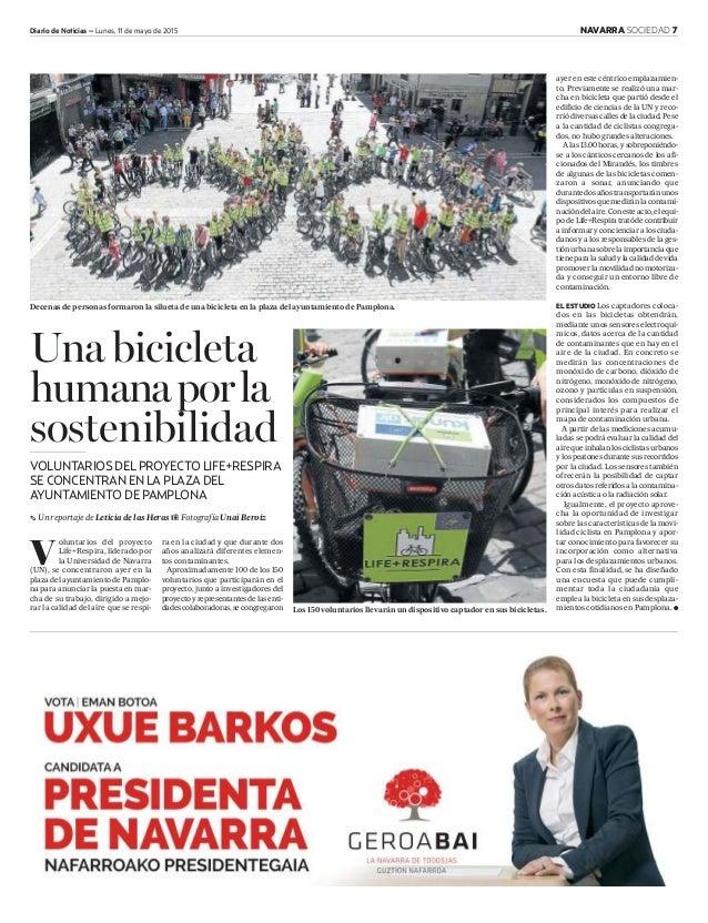 Diario de Noticias – Lunes, 11 de mayo de 2015 NAVARRA SOCIEDAD 7 V oluntarios del proyecto Life+Respira, liderado por la ...
