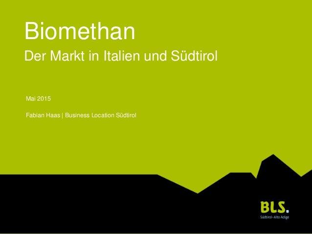 Biomethan Der Markt in Italien und Südtirol Mai 2015 Fabian Haas | Business Location Südtirol