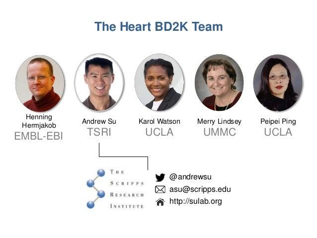 @andrewsu asu@scripps.edu http://sulab.org The Heart BD2K Team Henning Hermjakob EMBL-EBI Andrew Su TSRI Karol Watson UCLA...
