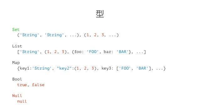 型 Set ('String', 'String', ...), (1, 2, 3, ...) List ['String', (1, 2, 3), {foo: 'FOO', bar: 'BAR'}, ...] Map {key1:'Strin...