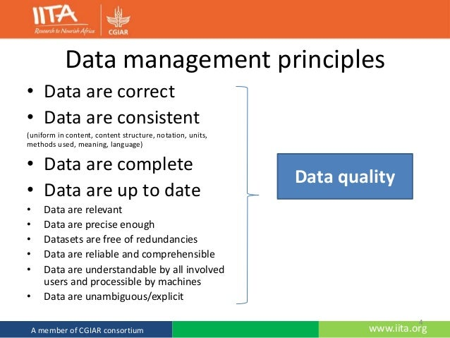 principles of data management Introduction to data management, terminologies and use of data manage…