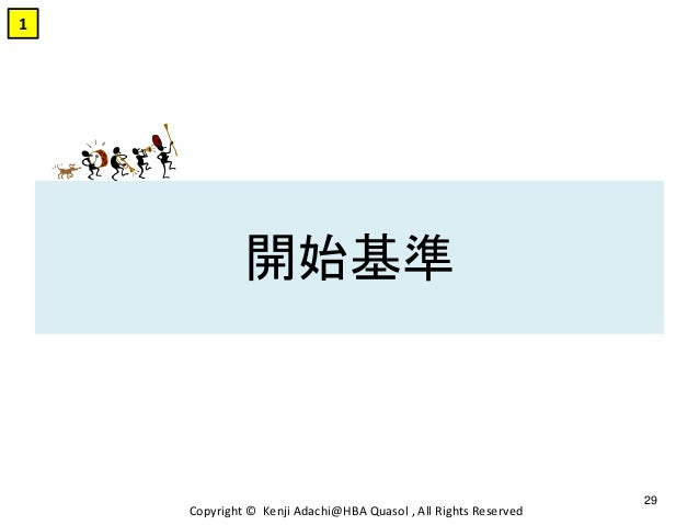 開始基準 Copyright © Kenji Adachi@HBA Quasol , All Rights Reserved 29 1