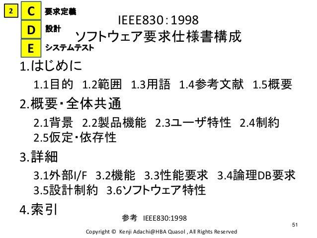 IEEE830:1998 ソフトウェア要求仕様書構成 1.はじめに 1.1目的 1.2範囲 1.3用語 1.4参考文献 1.5概要 2.概要・全体共通 2.1背景 2.2製品機能 2.3ユーザ特性 2.4制約 2.5仮定・依存性 3.詳細 3....