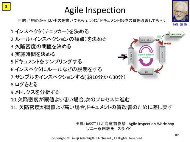 Agile Inspection 1.インスペクタ(チェッカー)を決める 2.ルール(インスペクションの観点)を決める 3.欠陥密度の閾値を決める 4.実施時間を決める 5.ドキュメントをサンプリングする 6.インスペクタにルールなどの説明をす...