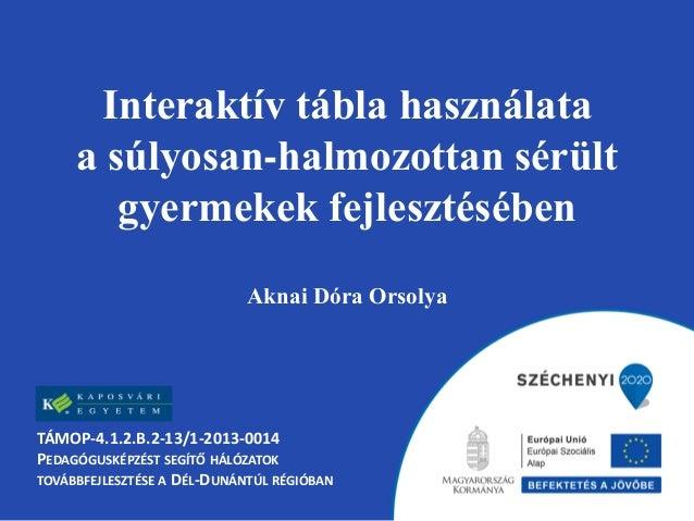 Interaktív tábla használata a súlyosan-halmozottan sérült gyermekek fejlesztésében Aknai Dóra Orsolya TÁMOP-4.1.2.B.2-13/1...