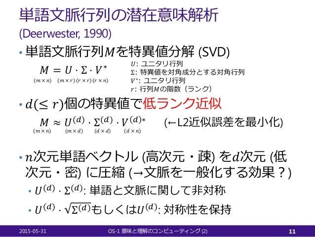 単語文脈行列の潜在意味解析 (Deerwester, 1990) • 単語文脈行列𝑀𝑀を特異値分解 (SVD) 𝑀𝑀 = 𝑈𝑈 ⋅ Σ ⋅ 𝑉𝑉∗ • 𝑑𝑑(≤ 𝑟𝑟)個の特異値で低ランク近似 𝑀𝑀 ≈ 𝑈𝑈(𝑑𝑑) ⋅ Σ(𝑑𝑑) ⋅ 𝑉𝑉 ...