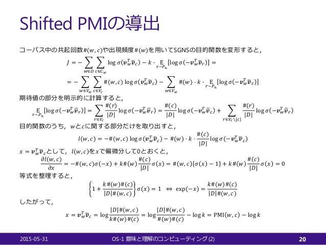 Shifted PMIの導出 コーパス中の共起回数#(𝑤𝑤, 𝑐𝑐)や出現頻度#(𝑤𝑤)を用いてSGNSの目的関数を変形すると, 𝐽𝐽 = − � 𝑤𝑤∈𝐷𝐷 � 𝑐𝑐∈𝐶𝐶𝑤𝑤 log 𝜎𝜎 𝒗𝒗𝑤𝑤 𝑇𝑇 �𝒗𝒗𝑐𝑐 − 𝑘𝑘 � Ε 𝑟𝑟...