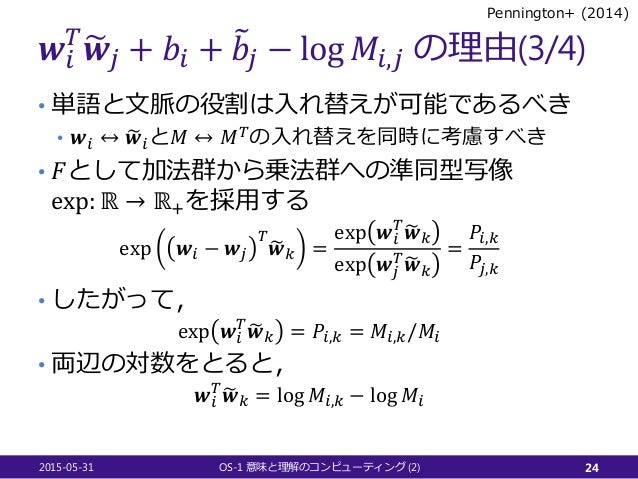𝒘𝒘𝑖𝑖 𝑇𝑇 �𝒘𝒘𝑗𝑗 + 𝑏𝑏𝑖𝑖 + �𝑏𝑏𝑗𝑗 − log 𝑀𝑀𝑖𝑖,𝑗𝑗 の理由(3/4) • 単語と文脈の役割は入れ替えが可能であるべき • 𝒘𝒘𝑖𝑖 ↔ �𝒘𝒘𝑖𝑖と𝑀𝑀 ↔ 𝑀𝑀𝑇𝑇の入れ替えを同時に考慮すべき • 𝐹𝐹として...