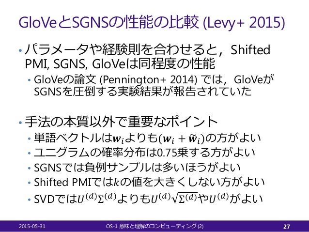 GloVeとSGNSの性能の比較 (Levy+ 2015) • パラメータや経験則を合わせると,Shifted PMI, SGNS, GloVeは同程度の性能 • GloVeの論文 (Pennington+ 2014) では,GloVeが SG...