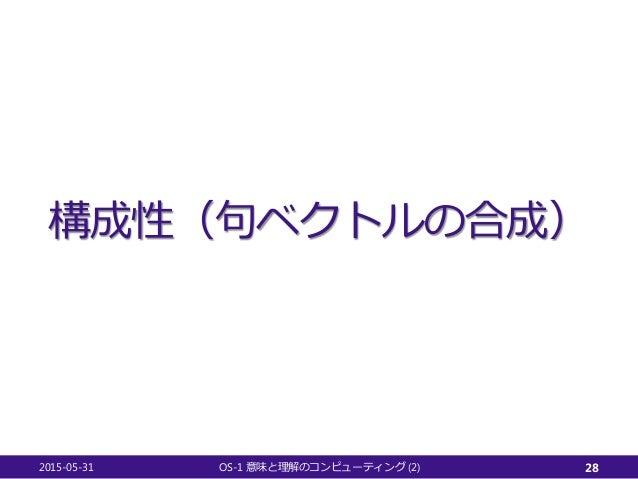 構成性(句ベクトルの合成) 2015-05-31 OS-1 (2)意味と理解のコンピューティング 28