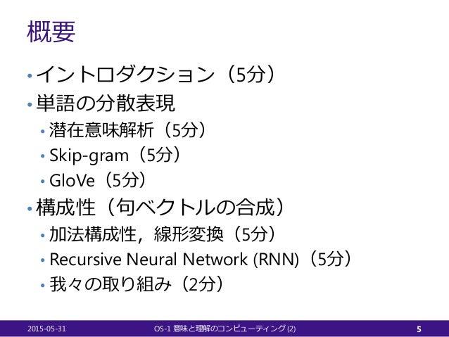 概要 • イントロダクション(5分) • 単語の分散表現 • 潜在意味解析(5分) • Skip-gram(5分) • GloVe(5分) • 構成性(句ベクトルの合成) • 加法構成性,線形変換(5分) • Recursive Neural ...