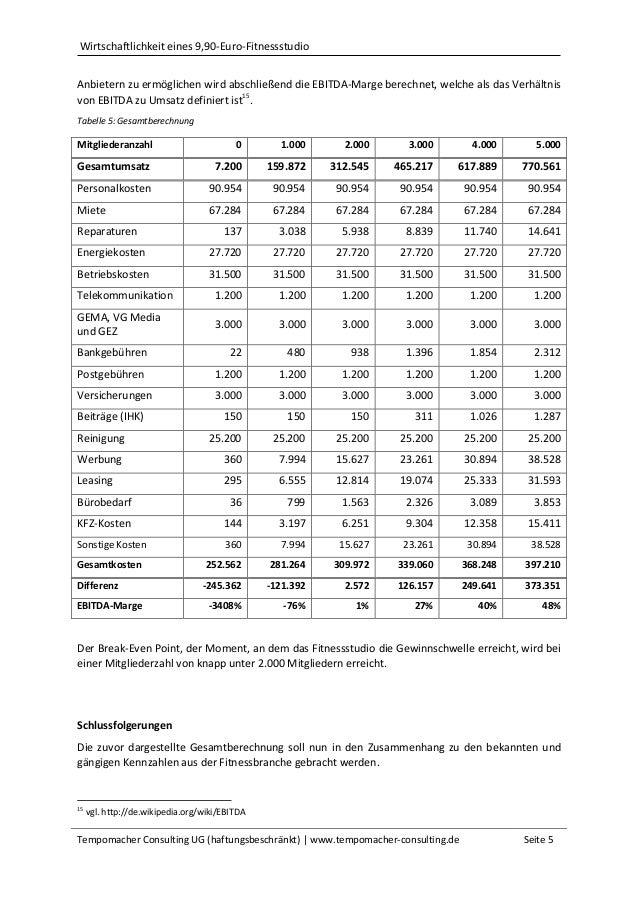 Wirtschaftlichkeit eines 9,90-Euro-Fitnessstudio Tempomacher Consulting UG (haftungsbeschränkt)   www.tempomacher-consulti...