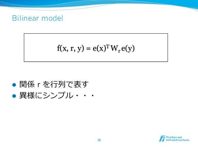 Bilinear model ! r ! f(x, r, y) = e(x)T Wr e(y)