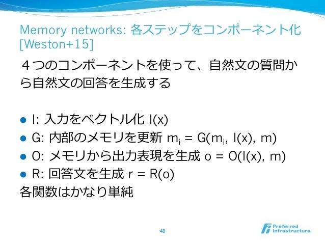 Memory networks: [Weston+15] ! I: I(x) ! G: mi = G(mi, I(x), m) ! O: o = O(I(x), m) ! R: r = R(o)