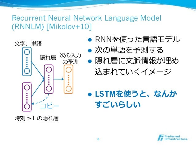 Recurrent Neural Network Language Model (RNNLM) [Mikolov+10] ! RNN ! ! ! LSTM