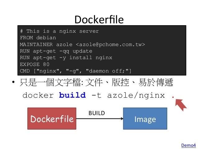 Container Websrv Docker0 Bridge (172.17.42.1) docker  run  -‐-‐name  websrv  -‐d  -‐p  8080:80    -‐-...