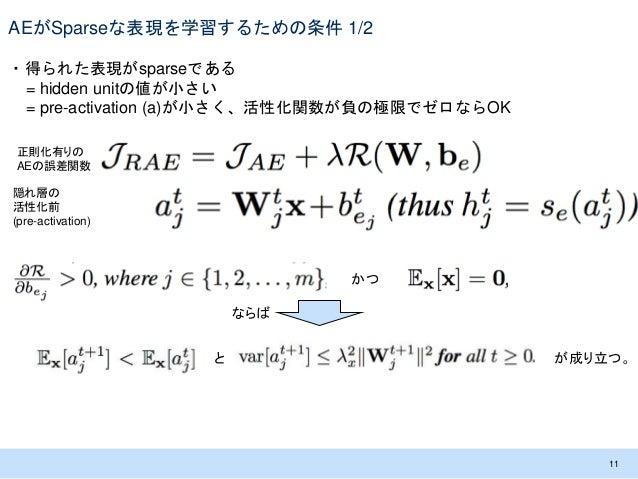 AEがSparseな表現を学習するための条件 1/2 ・得られた表現がsparseである = hidden unitの値が小さい = pre-activation (a)が小さく、活性化関数が負の極限でゼロならOK 11 隠れ層の 活性化前 (...