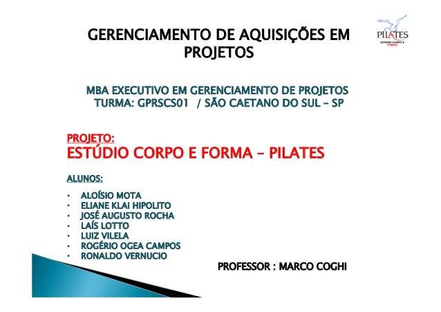 GERENCIAMENTO DE AQUISIÇÕES EM PROJETOS MBA EXECUTIVO EM GERENCIAMENTO DE PROJETOS TURMA: GPRSCS01 / SÃO CAETANO DO SUL – ...
