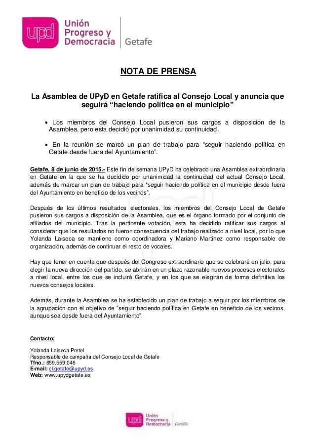 """La Asamblea de UPyD en Getafe ratifica al Consejo Local y anuncia que seguirá """"haciendo política en el municipio"""" Los miem..."""