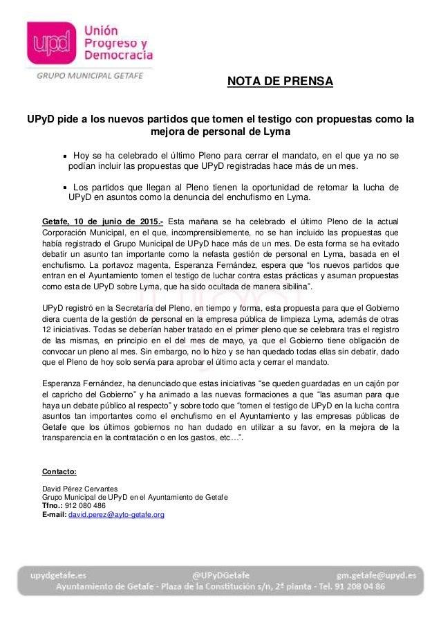 UPyD pide a los nuevos partidos que tomen el testigo con propuestas como la mejora de personal de Lyma Hoy se ha celebrado...
