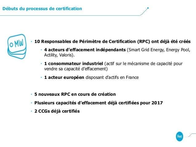 Débuts du processus de certification • 10 Responsables de Périmètre de Certification (RPC) ont déjà été créés • 4 acteurs ...