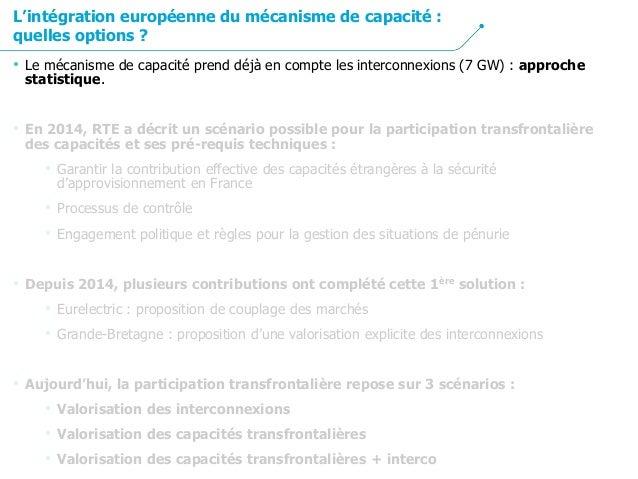 • Le mécanisme de capacité prend déjà en compte les interconnexions (7 GW) : approche statistique. • En 2014, RTE a décrit...