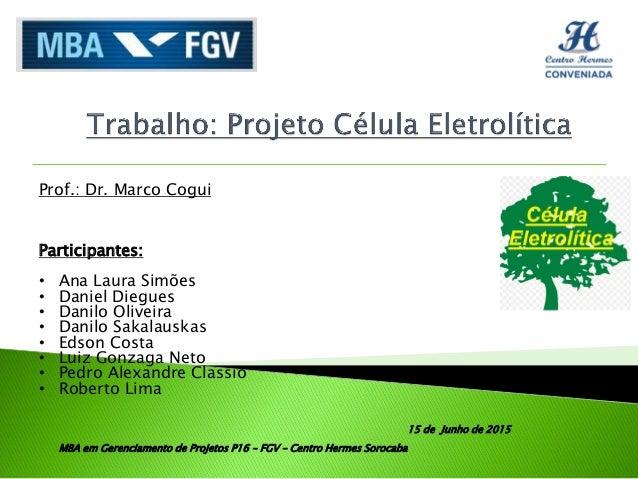 Prof.: Dr. Marco Cogui Participantes: • Ana Laura Simões • Daniel Diegues • Danilo Oliveira • Danilo Sakalauskas • Edson C...