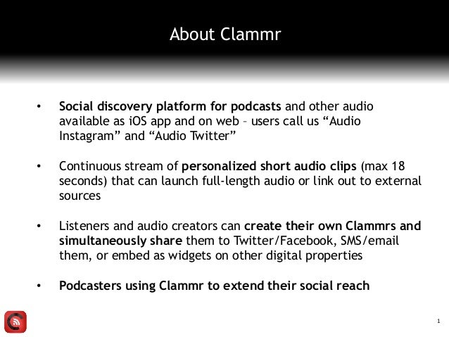 """• Social discovery platform for podcasts and other audio available as iOS app and on web – users call us """"Audio Instagram""""..."""