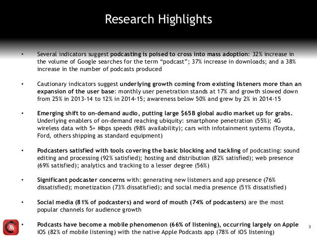 • Several indicators suggest podcasting is poised to cross into mass adoption: 32% increase in the volume of Google search...