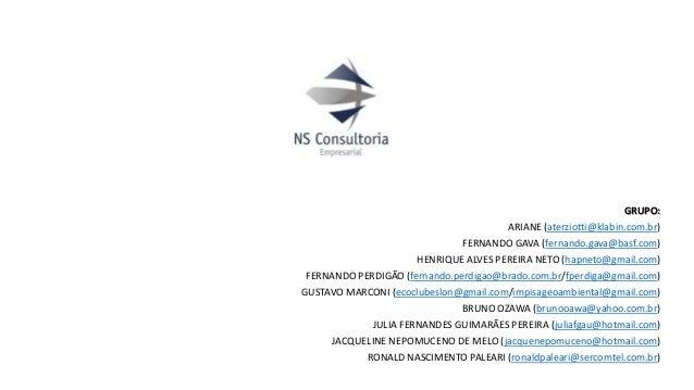 GRUPO: ARIANE (aterziotti@klabin.com.br) FERNANDO GAVA (fernando.gava@basf.com) HENRIQUE ALVES PEREIRA NETO (hapneto@gmail...