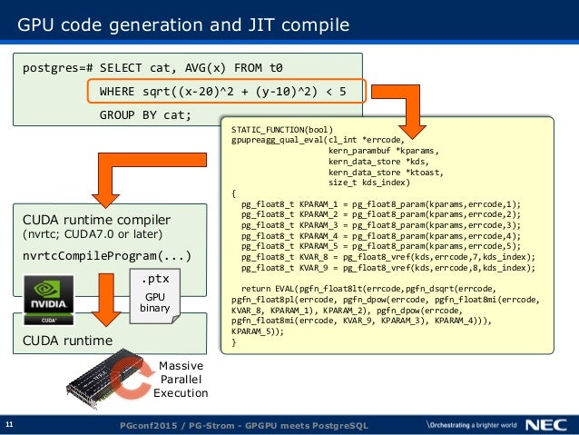 11 GPU code generation and JIT compile PGconf2015 / PG-Strom - GPGPU meets PostgreSQL postgres=# SELECT cat, AVG(x) FROM t...