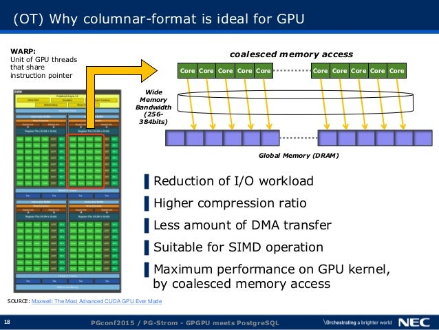 18 (OT) Why columnar-format is ideal for GPU ▌Reduction of I/O workload ▌Higher compression ratio ▌Less amount of DMA tran...