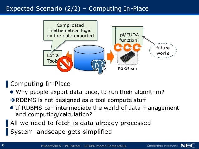 21 Expected Scenario (2/2) – Computing In-Place ▌Computing In-Place  Why people export data once, to run their algorithm?...