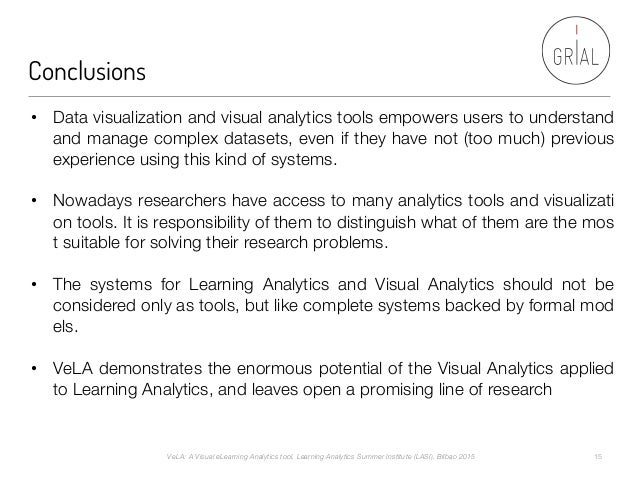 Conclusions VeLA: A Visual eLearning Analytics tool. Learning Analytics Summer Institute (LASI). Bilbao 2015  15 • Data v...