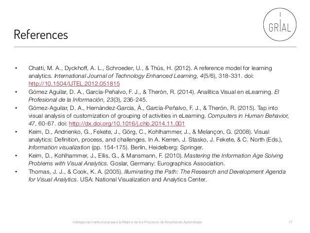 References Inteligencia Institucional para la Mejora de los Procesos de Enseñanza-Aprendizaje  17 • Chatti, M. A., Dyckho...