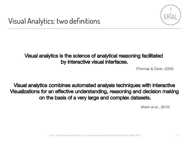 Visual Analytics: two definitions Visual analytics is the science of analytical reasoning facilitated by interactive visual...