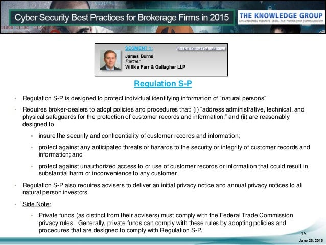 regulation sp Cyber Security Best Practices for Brokerage Firms in 2015 LIVE Webcast