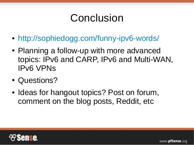 IPv6 Basics - pfSense Hangout July 2015