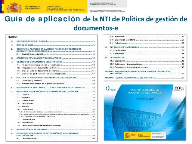 Guía de aplicación delaNTIdePolíticadegestiónde documentos‐e