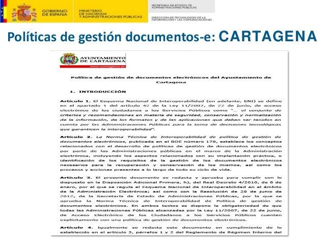 Políticasdegestióndocumentos‐e:CARTAGENA