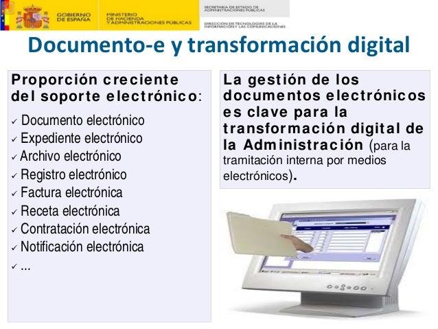 Documento‐eytransformacióndigital Proporción creciente del soporte electrónico: Documento electrónico Expediente electr...