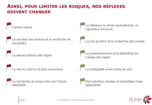 Page 9 Nos lectures #2 : Les Décisions Absurdes II AINSI, POUR LIMITER LES RISQUES, NOS RÉFLEXES DOIVENT CHANGER La recher...