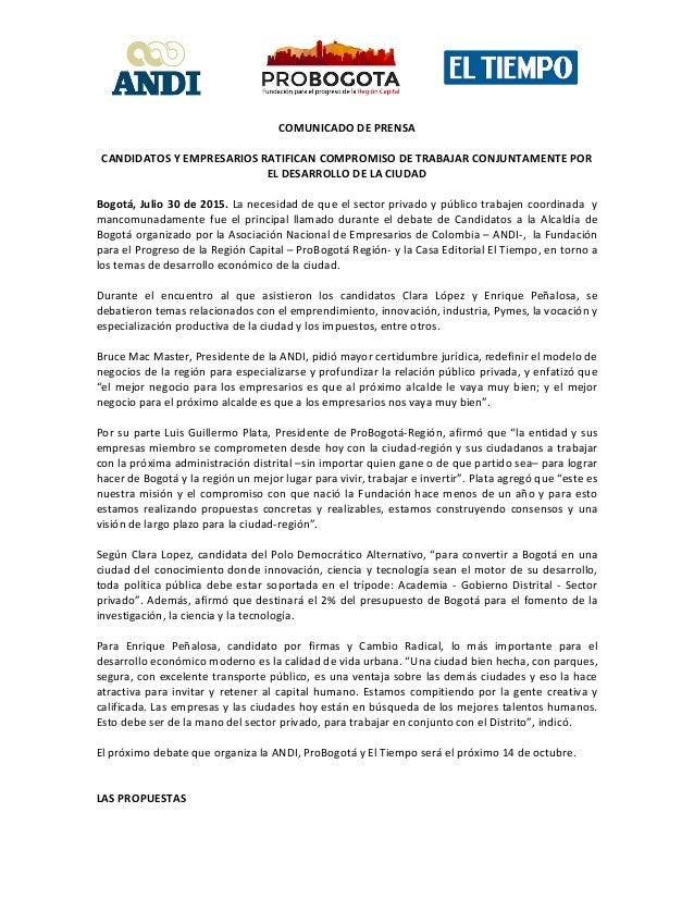 COMUNICADO  DE  PRENSA      CANDIDATOS  Y  EMPRESARIOS  RATIFICAN  COMPROMISO  DE  TRABAJAR  ...