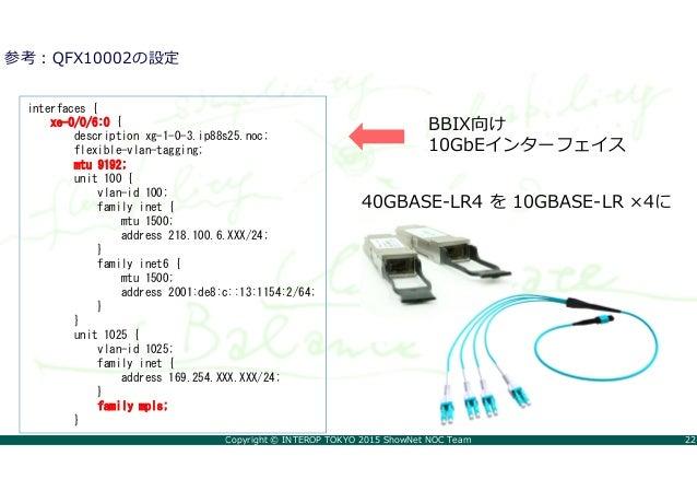 Copyright © INTEROP TOKYO 2015 ShowNet NOC Team 22 参考:QFX10002の設定 interfaces { xe-0/0/6:0 { description xg-1-0-3.ip88s25.n...